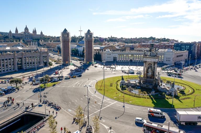 Plaça d'Espanya from Las Arenas